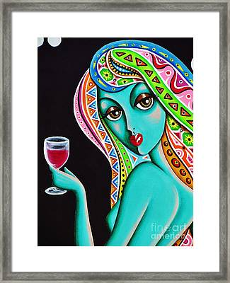 Framed Print featuring the painting Amitty Groovy Chick Series Detail by Joseph Sonday
