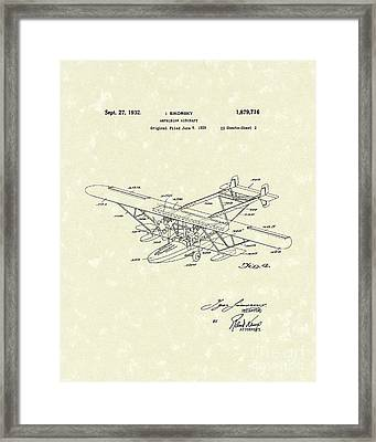 Amphibian Aircraft 1932 Patent Art Framed Print by Prior Art Design