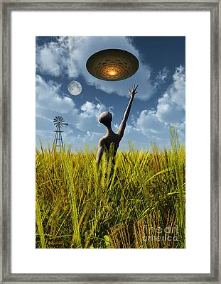 An Alien Being Directing A Ufo Framed Print by Mark Stevenson
