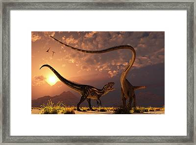 An Allosaurus In A Deadly Battle Framed Print by Mark Stevenson