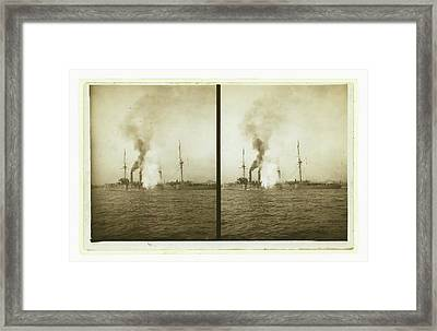 An American Cruiser Firing Its Guns In Salute As It Arrives Framed Print by Litz Collection