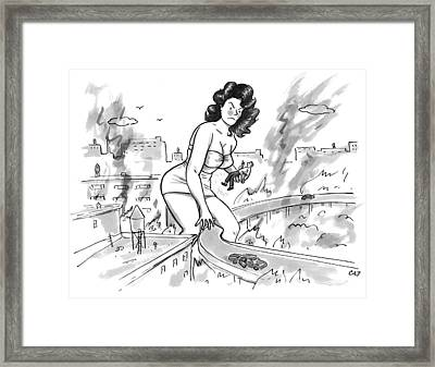 An Angry Giant Woman Picks A Man Up Framed Print