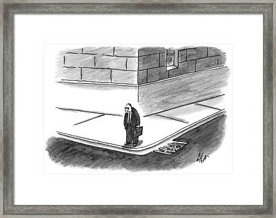 An Angry-looking Man Stands On The Corner Framed Print by Frank Cotham