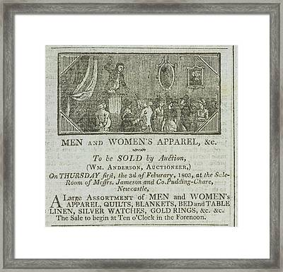 An Auction Framed Print by British Library