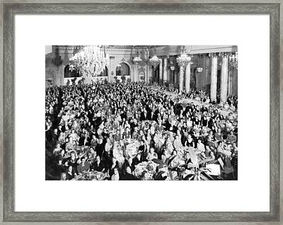 An Elegant Banquent Scene Framed Print by Underwood Archives