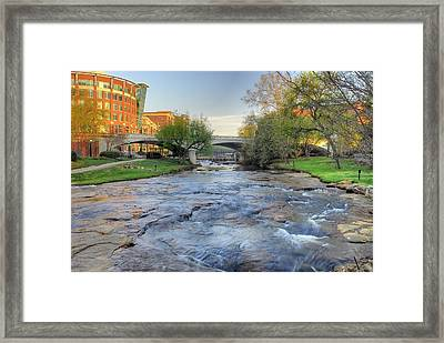 An Hdr Image Of The Reedy River In Downtown Greenville Sc Framed Print