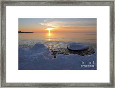 Framed Print featuring the photograph An Icy  Superior Sunrise by Sandra Updyke