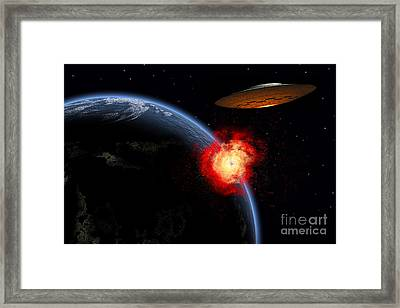 An Orbiting Ufo Launches A Deadly Framed Print by Mark Stevenson