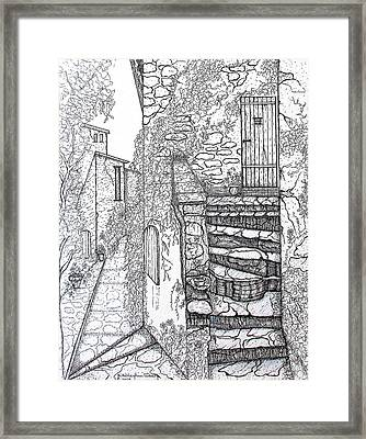 Ancient Crumbling Stone Steps Black And White Framed Print
