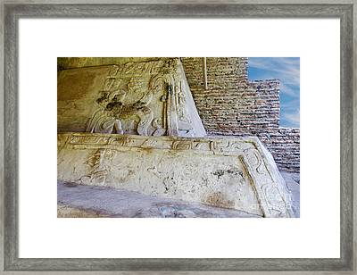 Ancient Mayan Carvings Framed Print by Ellen Thane