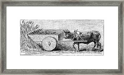 Ancient Roman Reaping Cart Framed Print by Universal History Archive/uig