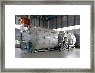 Andre Kuipers And Iss Colombus Simulator Framed Print by Detlev Van Ravenswaay
