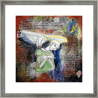 Angel And Man Framed Print by Chris Bradley