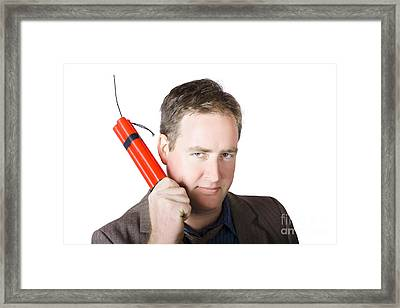 Angry Business Man Holding Stick Of Dynamite Framed Print by Jorgo Photography - Wall Art Gallery
