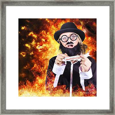Angry Business Terrorist Hijacking Model Plane Framed Print