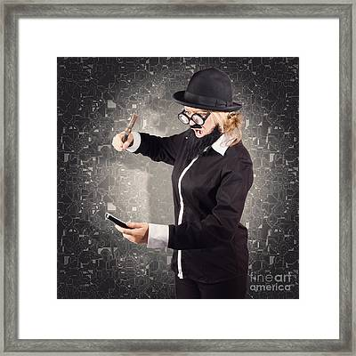 Angry Businessman Breaking Smartphone With Hammer Framed Print by Jorgo Photography - Wall Art Gallery