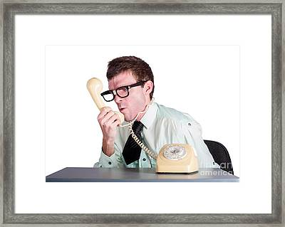 Angry Businessman Yelling Down Phone Framed Print by Jorgo Photography - Wall Art Gallery