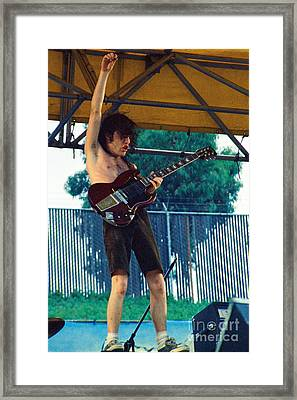 Angus Young Of A C D C At Day On The Green Monsters Of Rock - July 1979 Framed Print by Daniel Larsen