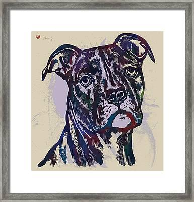 Animal Pop Art Etching Poster - Dog 13 Framed Print