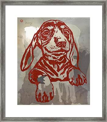 Animal Pop Art Etching Poster - Dog 5 Framed Print