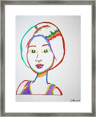 Framed Print featuring the painting Anime Asian Girl by Stormm Bradshaw