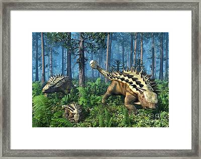 Ankylosaur Family, Artwork Framed Print