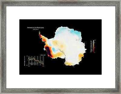 Antarctic Ice Mass Change 2003-2013 Framed Print by Nasa