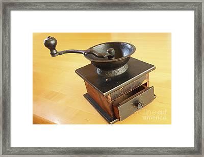Antique Coffee Grinder Framed Print by John Van Decker