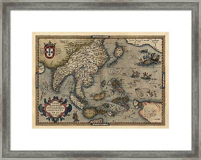 Antique Map Of Asia And The Pacific Islands By Abraham Ortelius - 1570 Framed Print