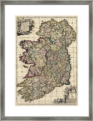 Antique Map Of Ireland By Frederik De Wit - Circa 1700 Framed Print