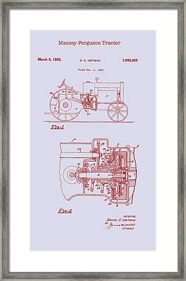 Antique Massey-ferguson Tractor Patent 1935 Framed Print