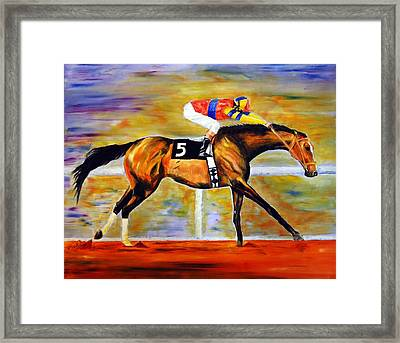 Framed Print featuring the painting Ap Indy by Jennifer Godshalk