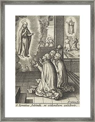 Appearance Of Ignatius Loyola To Three Jesuits Framed Print by Hieronymus Wierix