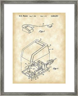 Apple Mouse Patent 1984 - Vintage Framed Print by Stephen Younts