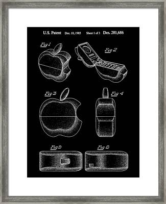 Apple Phone Patent 1985 - Black Framed Print by Stephen Younts