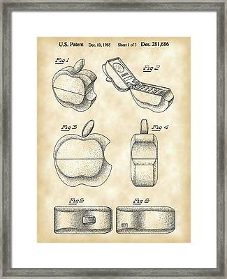 Apple Phone Patent 1985 - Vintage Framed Print by Stephen Younts