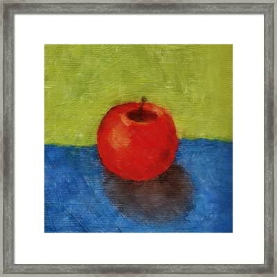 Apple With Green And Blue Framed Print by Michelle Calkins