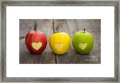 Apples With Engraved Hearts Framed Print by Aged Pixel