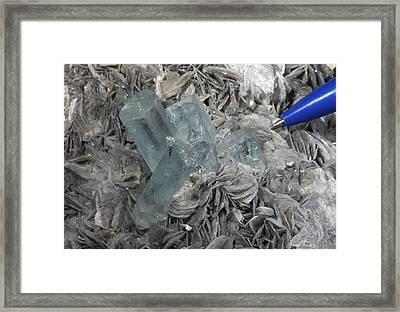 Aquamarine In Muscovite Matrix Framed Print by Dirk Wiersma
