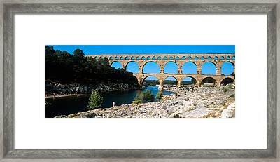 Aqueduct Across A River, Pont Du Gard Framed Print by Panoramic Images