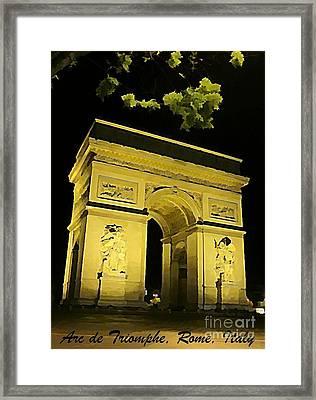 Arc De Triomphe At Night Framed Print by John Malone