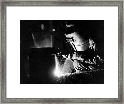 Arc Welder At Work Framed Print