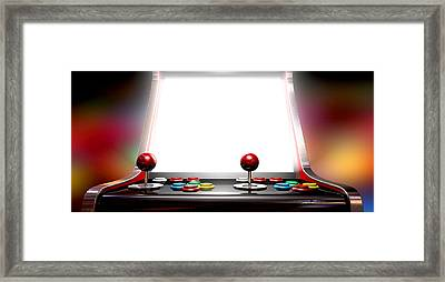 Arcade Game With Illuminated Screen Framed Print by Allan Swart