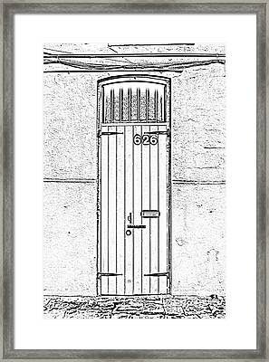 Arched Doorway French Quarter New Orleans Photocopy Digital Art Framed Print by Shawn O'Brien