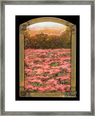 Arched Morning Orange Poppy Field W Frame Framed Print by Vic  Mastis