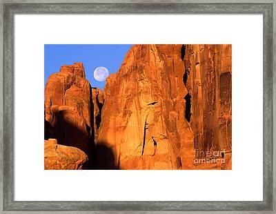 Arches Moonset Framed Print by Inge Johnsson