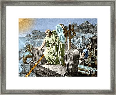 Archimedes Heat Ray Siege Of Syracuse Framed Print by Science Source