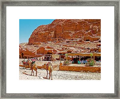 Area In Front Of Tombs Of The Kings In Petra-jordan Framed Print by Ruth Hager
