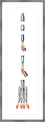 Ariane 3 Rocket Framed Print by Mikkel Juul Jensen
