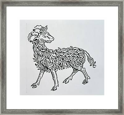 Aries An Illustration From The Poeticon Framed Print by Italian School